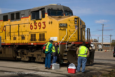 UP crew change for east bounder at Fremont, NE.