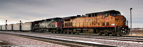 UP Coal headed for east bound main line at Missouri Valley (Canon Rebel XT).