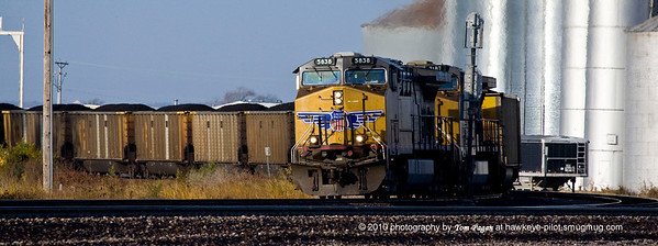 Another morning train chase catches east bound coal at Missouri Valley as it makes its way onto the UP main line.