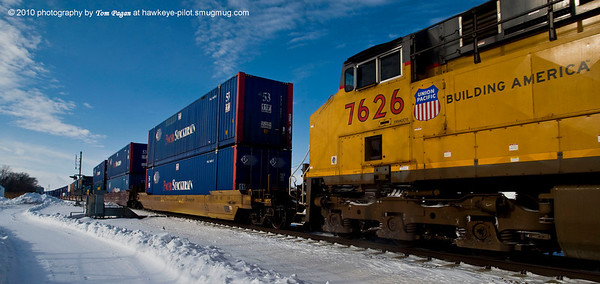 East bound UP stack train at Missouri Valley, IA.