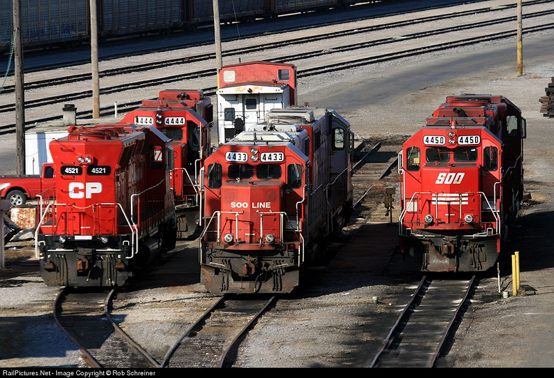 Various geeps sit in the Bensenville yard, as seen from I294.