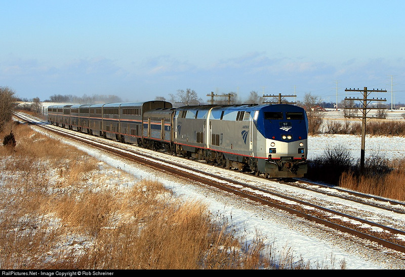 """Amtrak number 8 the Empire Builder is running """"wrong main"""" thru the west side of Kenosha enroute to Chicago."""