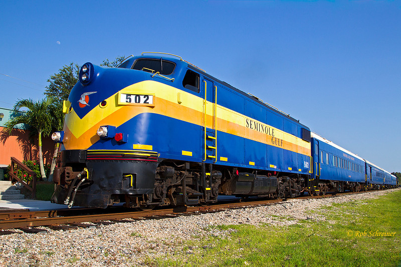 The Seminole Gulf's dinner train just prior to its departure from Ft Myers, FL on June 29th, 2012.