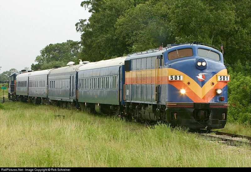 Non powered control unit leads an excursion train thru North Fort Myers, FL