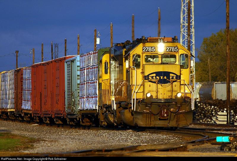 Ex-Santa Fe units on a local train in Aurora, IL.