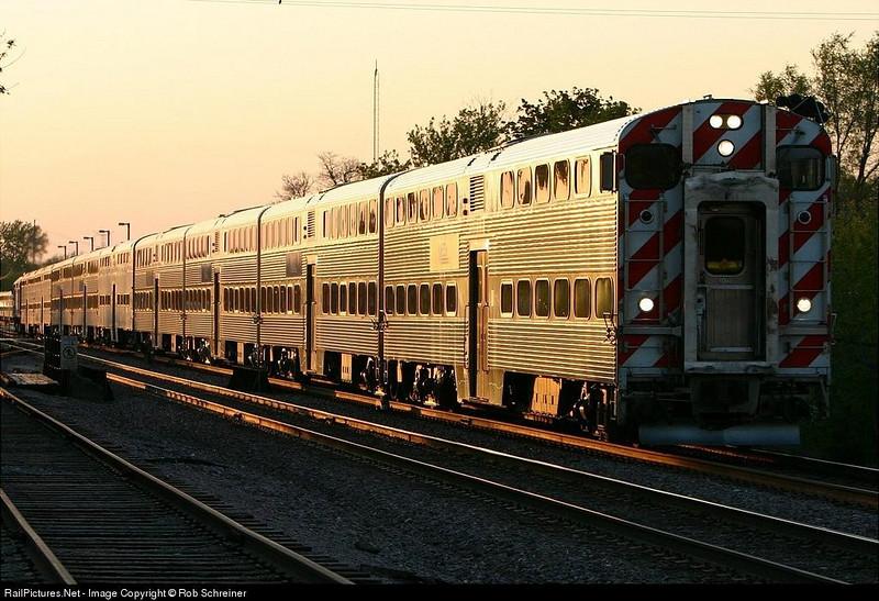 Metra commuter train at Crystal Lake, IL.