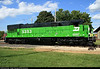 Freshly repainted Burlington Northern U30C locomotive at Illinois railway museum in Union, IL.