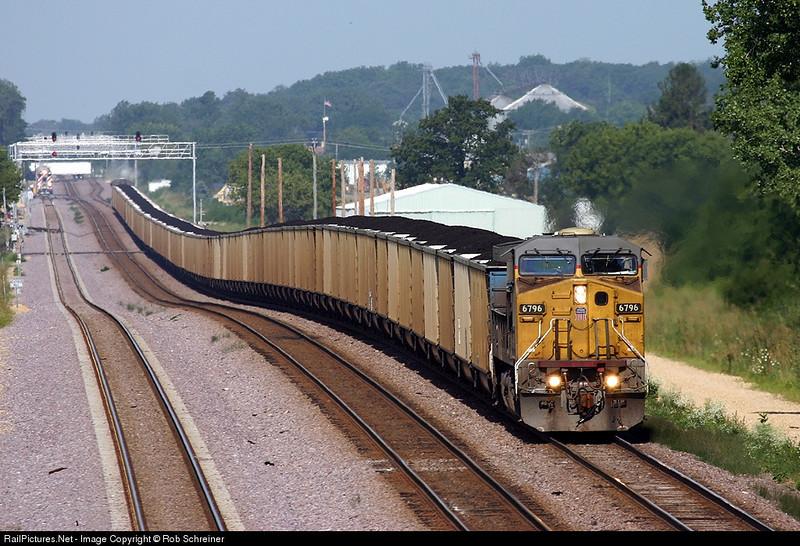 Loaded coal train runs 1x1 east thru LaFox, IL on the Union Pacific's Geneva subdivision.