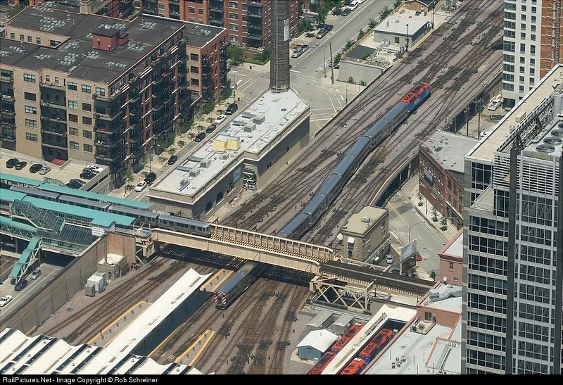 A Metra commuter train arrives at the OTC, as seen from the Sears Tower.