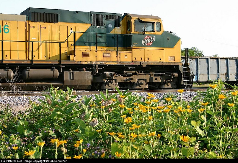 One of the last two Chicago and Northwestern painted locomotives sits in the Belvidere, IL yard.