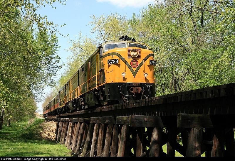 Photo train poses on the Camp Creek trestle in Monticello, IL.