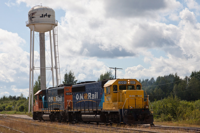 GP38-2 1804 and GP40-2 2201 at Moosonee station after switching freight following their arrival with twice weekly freight train.