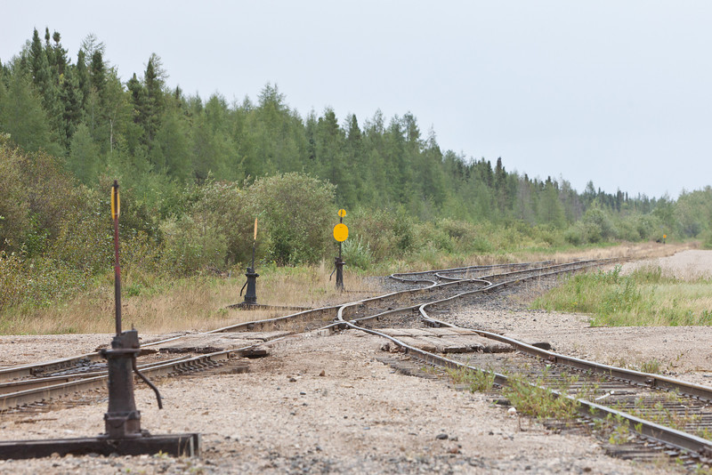 Track heading out to airport from Moosonee station.