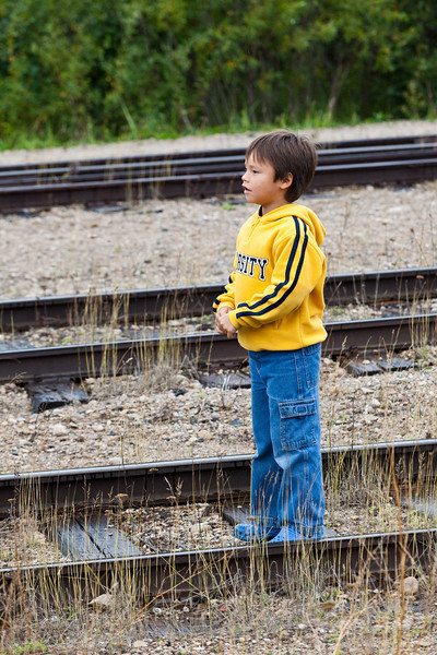 Holden waiting for the train.