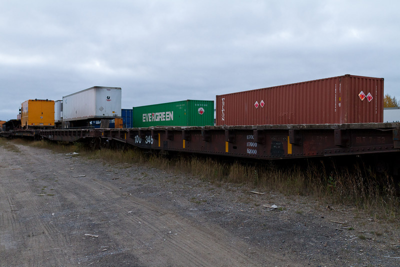 Containers and trailers at Airport Road loading platform in Moosonee.