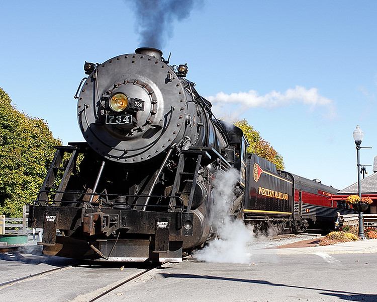 Western Maryland Scenic Railroad number 734 arriving at the depot in Frostburg, MD
