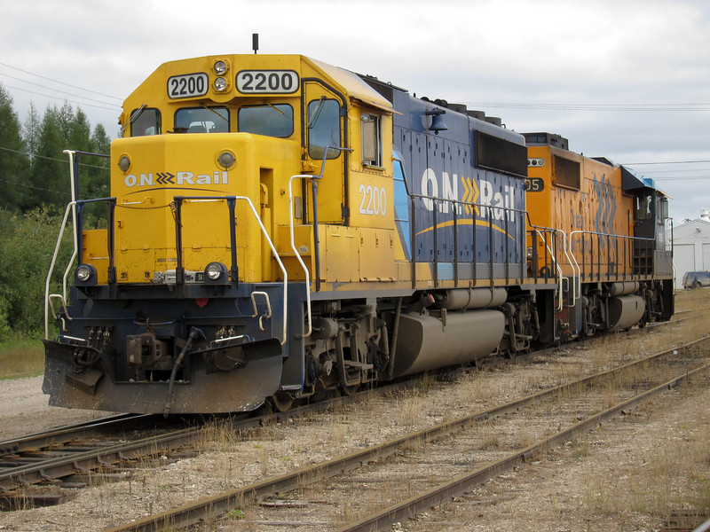 Ontario Northland Railway locomotives in Moosonee in freight service: GP38-2 1805 and GP40-2 2200. These engines brought up freight early Friday morning and will return Friday evening with freight to Cochrane.