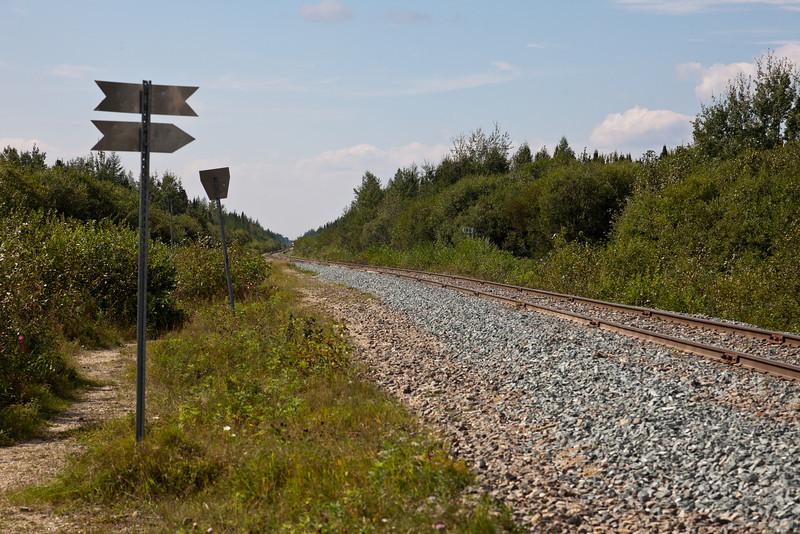 First glimpse of frieght train approaching Moosonee.