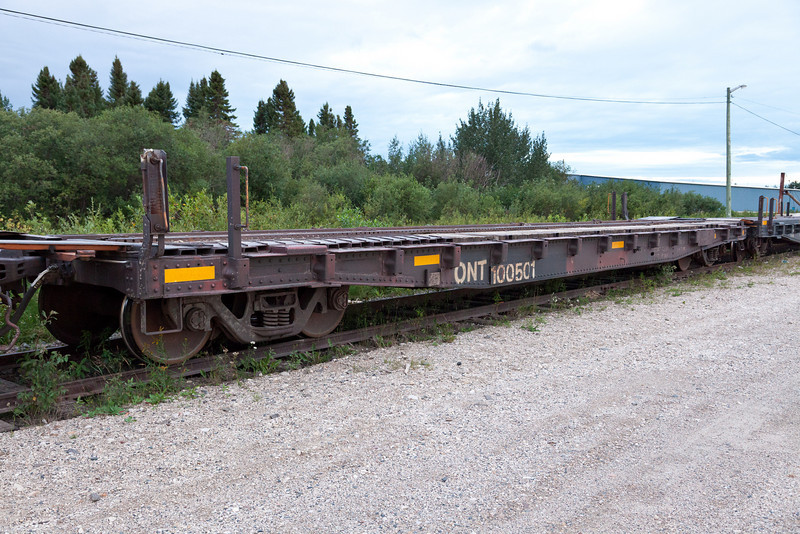 Ontario Northland Railway flatcar 100501 used in Polar Bear Express service to carry vehicles (chain car)
