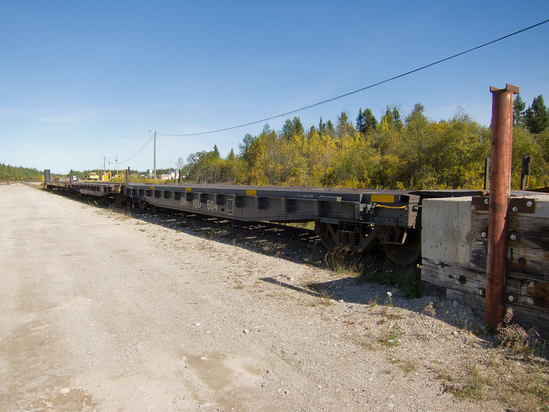 Flatcars (chain cars) for vehicles at Mooosnee.