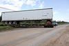 Freight crossing Bay Road in Moosonee.