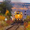 Ontario Northland Railway southbound Northlander passenger train crossing the Englehart River 2010 October 11.