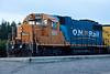 GP38-2 1801 and GP40-2 2200 at head of ballast train in Moosonee.