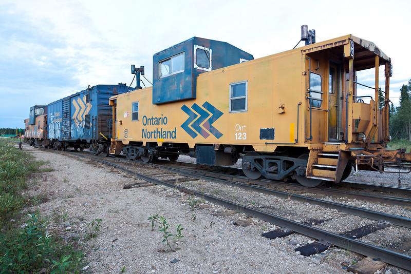 Caboose 123 as part of ballast train in Moosonee.