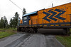 Ontario Northland Railway passenger train the Northland led by GP38-2 1805 crosses Bryan's Road just south of Englehart, Ontario as it heads towards Toronto.