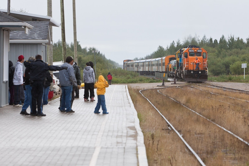 Polar Bear Express arriving in Moosonee.