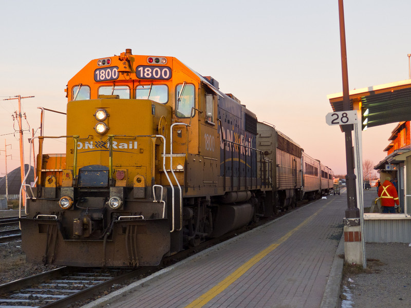 Ontario Northland passenger train the Northlander at Cochrane before leaving for Toronto. Power is GP38-2 1800.