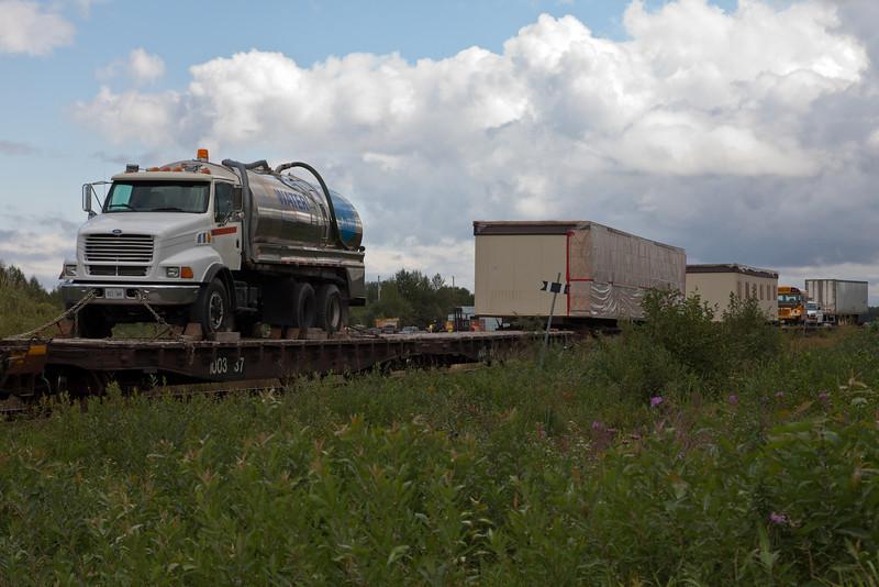 Freight heading towards Airport Road unloading platform.