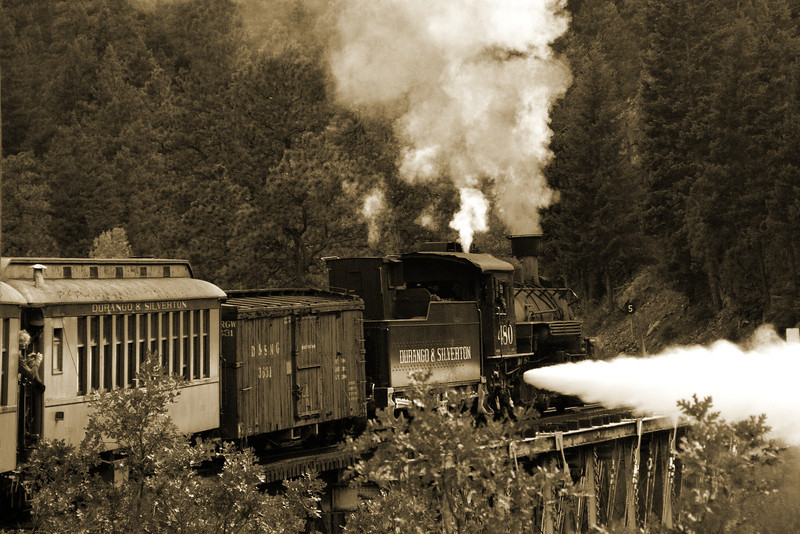 Crosssing the Trestle - Sepia