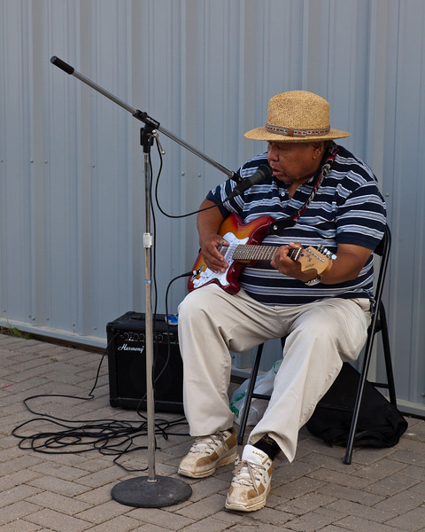 """George Chakasim has been entertaining passengers who arrive in Moosonee on the Polar Bear Express for a decade. 2010 August 27th was his last day of playing at the station. George was made famous by Don Charbonneau's song, """"George from Moosonee""""."""