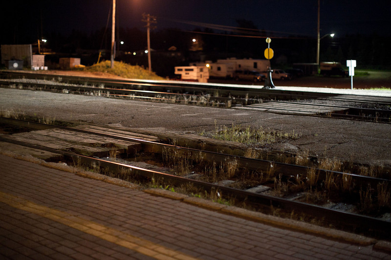 Cochrane train station waiting for the Polar Bear Express to arrive, walkway across the tracks.