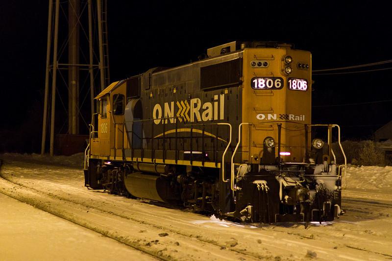 Ontario Northland Railway GP38-2 locomotive 1806 at Moosonee, Ontario 2010 December 28th