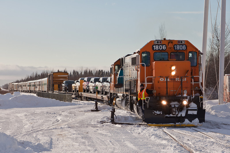 Ontario Northland Railway locomotives GP38-2's 1806 and 1808 provide power for the Polar Bear Express arriving in Moosonee 2010 Dec 15