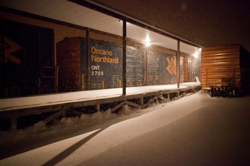 2010 December 14th snowstorm by night: Ontario Northland freight express platform.