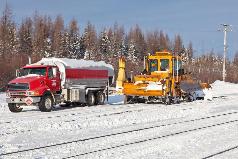 Ontario Northland Railway 491861 with fuel truck at Moosonee 2010 Dec 15