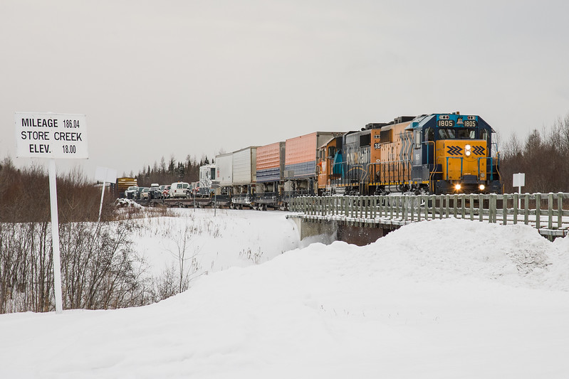 Mixed train (Little Bear) arriving in Moosonee 2007 January 22nd.