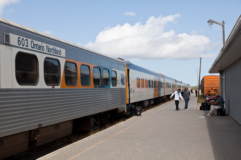 Station platform in Moosonee following arrival of Polar Bear Express.
