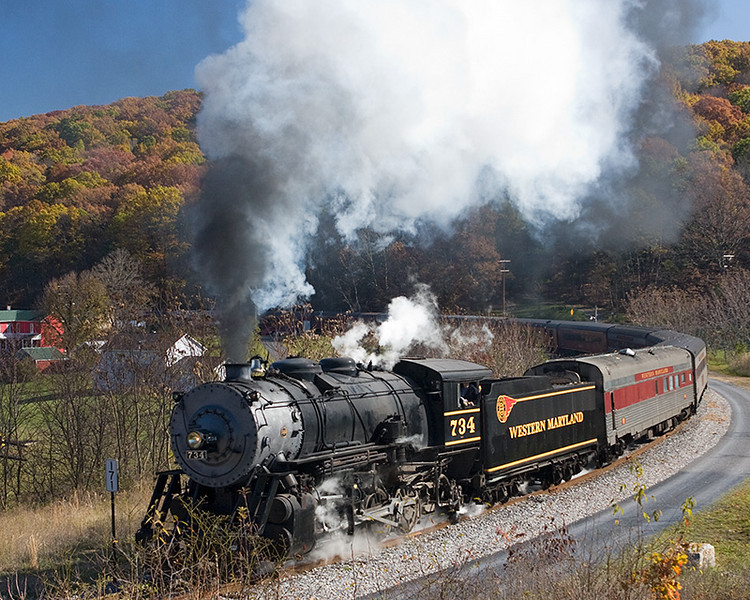 Western Maryland Scenic Railroad number 734 coming through Helmstetters Curve near Corganville, Md.