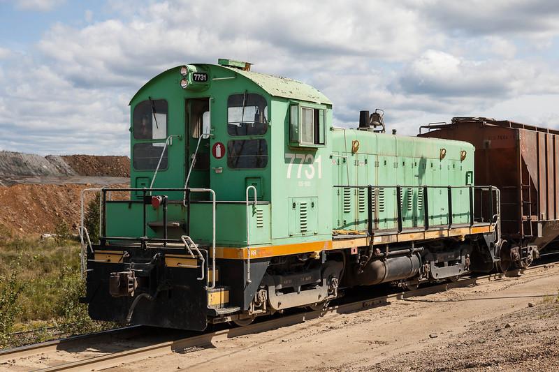 Visit to the Agrium Phosphate Mine near Kapuskasing. Locomotive 7731.