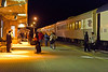 Polar Bear Express arriving in Cochrane 2010 October 13th. Short train, only three coaches and a snack car.