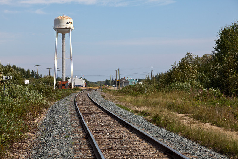 Fresh ballast on Ontario Northland Railway apporach to Moosonee, Ontario.