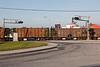 Ballast train crossing highway in Cochrane.