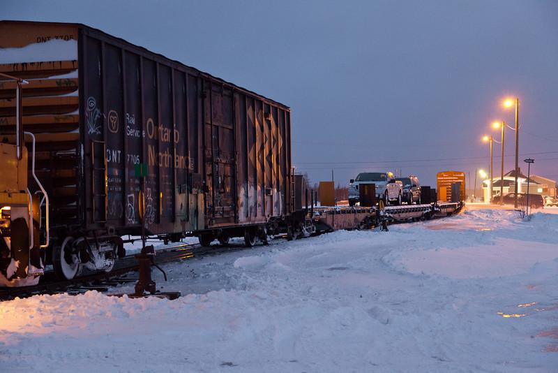 Polar Bear Express train showing head end cars and passenger cars at Moosonee 2010 December 6th.