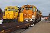Ontario Northland Railway train the Polar Bear Express arriving in Moosonee, Ontario 2010 December 3rd. Power from GP38-2 locomovites 1801 and 1808.