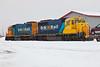 Cochrane 2010 December 21st. GP38-2 1801 and GP40-2 2200 provide power for the Polar Bear Express.