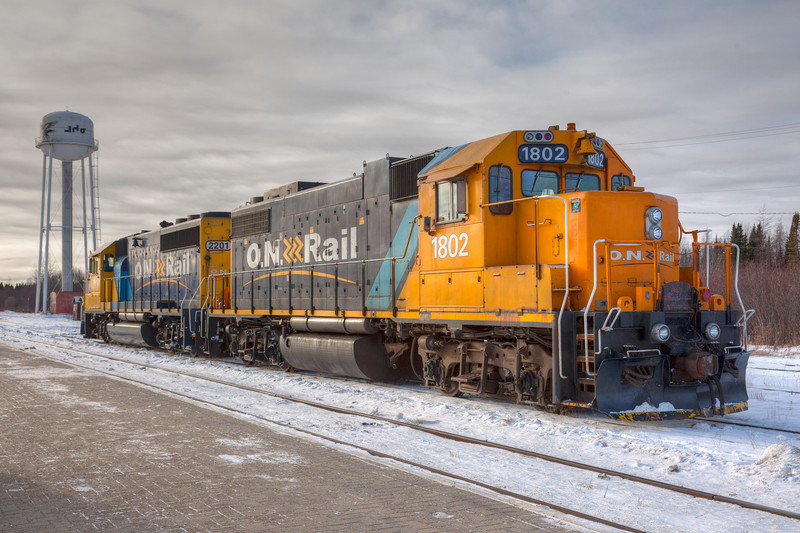 Ontario Northland Railway locomotives GP38-2 1802 and GP40-2 2201 in Moosonee on freight duty 2010 December 3rd. Composite image from three separate exposures.